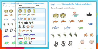 Under the Sea Complete the Pattern Worksheet - under the sea, under the sea patterns, under the sea pattern worksheets, under the sea complete the pattern