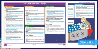 Back to Earth with a Bump Twinkl Originals Topic Web - KS1, Fiction, teaching ideas, planning, overview, mtp, year 1, year 2, year one, year two, space, st