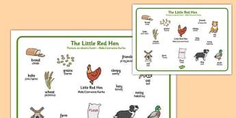 The Little Red Hen Word Mat Polish Translation - polish, little red hen, word mat, word, mat