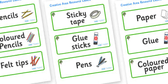 Sycamore Themed Editable Creative Area Resource Labels - Themed creative resource labels, Label template, Resource Label, Name Labels, Editable Labels, Drawer Labels, KS1 Labels, Foundation Labels, Foundation Stage Labels