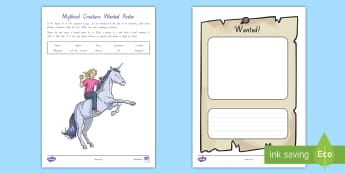 Mythical Creature Wanted Poster Activity - Chapter Chat, Sasquatch escape, Years 3 and 4, book support, reading activities