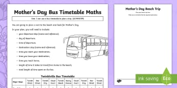 Mother's Day Bus Timetable Problem Activity Sheet - Mother's Day Maths, maths, mother, mother's day, mum, addition, subtraction, multiplication, divis