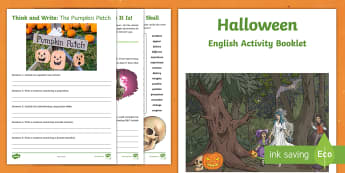 Year 3 Halloween English Activity Booklet - holiday booklet, homework booklet, y3, spag, writing activity, reading activity