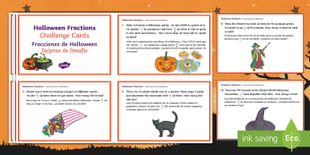 Year 5 Halloween Fractions Maths Challenge Cards English/Spanish - Priority Fractions, fractions, year 5, Y5,  fractions of amounts, challenge, maths, numeracy, number