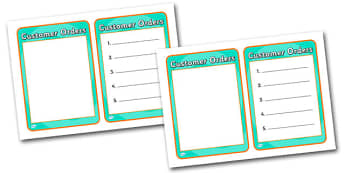 Healthy Eating Cafe Role Play Order Forms - health, food, caf
