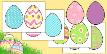 Cut-out Patterned Easter Eggs - Easter Egg, Easter Egg Resource, Foundation, KS1, Easter, Easter resource, Easter bible, Easter teaching resource, Easter Sunday, Colouring Easter Eggs, Easter, bible, egg, Jesus, cross, Easter Sunday, bunny, chocolate