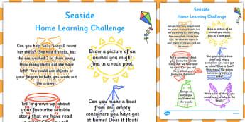 EYFS Seaside Themed Home Learning Challenge Sheet Reception FS2