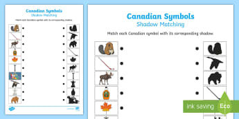 Canadian Symbols Shadow Matching Activity Sheet - Canada, symbols, matching, canadian, shadow