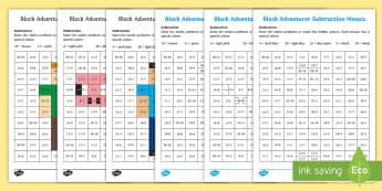 KS1 Block Adventurer Subtraction Mosaic Activity Sheets - Worksheet, Minecraft, Take Away,  Number Sentence, Taking Away, Minus, Calculation, Hidden Picture,