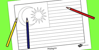 Malaysia Flag Colouring Sheet - geography, countries, colour