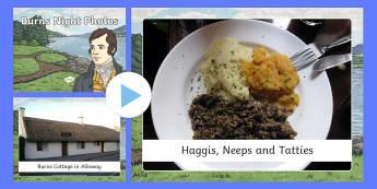 Burns Night Photos PowerPoint - Scottish, Scotland, significant individuals, Robert Burns, National Poet, Burns Supper, Burns Night,