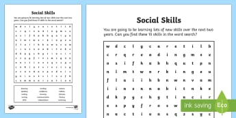 Social Skills Word Search - Key Stage 4 Entry Level, word search, social, skills, entry, functional