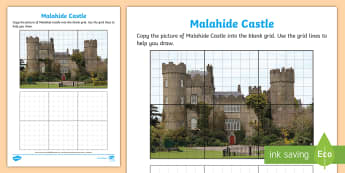 Malahide Castle Art Activity Sheet - ROI - The World Around Us WAU,Irish, Worksheet