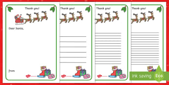 Thank You Letter to Santa Writing Template - Christmas, letter, Santa, writing, thank you