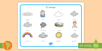 Tápiz de vocabulario: El tiempo - tiempo, clima, hace sol, hace calor, lluvia, sol, arcoíris, nube, tormenta, nieve, viento, granizo,