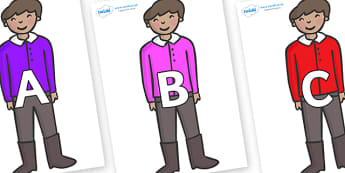 A-Z Alphabet on Boy - A-Z, A4, display, Alphabet frieze, Display letters, Letter posters, A-Z letters, Alphabet flashcards