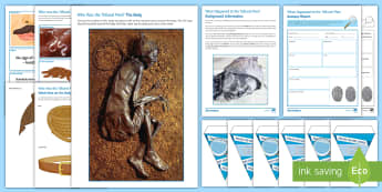 CSI What happened to the Tollund Man? Display Pack - history, parent open evening, investigation, enquiry, crime scene, Denmark, iron age, Tollund Man