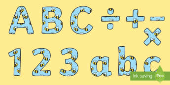 Busy Bees Display Letters and Numbers Pack - busy bee alphabet, A-Z Lettering, display lettering