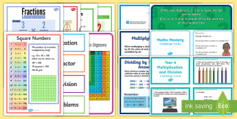 UKS2 Multiplication and Division Working Wall Display Pack - classroom display, maths display, banner, strategy,maths vocabulary, maths vocab, key words, long di