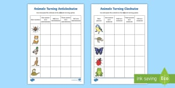 Animals Turning Clockwise and Anticlockwise Activity Sheets - Mathematics, Year 2,  Measurement and Geometry, Location and transformation, ACMMG046, half turn, qu