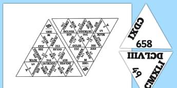 Triomino : Les nombres romains jusqu'à 10000 - nombres romains, rroman numbers, Rrome, romains, nombres, histoire, antiquité, cycle 3, KS2, jeu