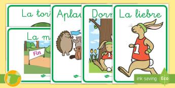 Pósters: La liebre y la tortuga - exponer, exposición, decorar, decoración, cuento, infantil, moraleja, liebre, tortuga, fábula, fa