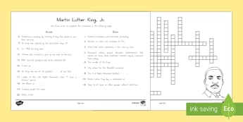 Martin Luther King Jr. Crossword - Civil Rights, Martin Luther King, martin luther king day