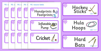 Purple Themed Editable PE Resource Labels - Themed PE label, PE equipment, PE, physical education, PE cupboard, PE, physical development, quoits, cones, bats, balls, Resource Label, Editable Labels, KS1 Labels, Foundation Labels, Foundation Stage Lab