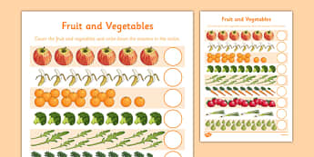 Fruit and Vegetables Counting Sheet - fruit and vegetables, counting sheet, count