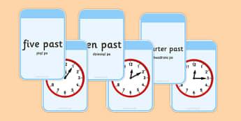 Telling The Time Matching Flashcards Polish Translation - polish, time, matching, flashcards