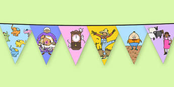 Nursery Rhyme Characters Themed Bunting - nursery rhyme, characters, themed, bunting, display