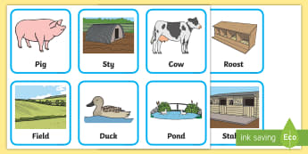 On the Farm Animal Homes - on the farm, matching cards, farm animals, where farm animals live, farm animal habitats, aniamls, f