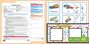 Organising Ziz Adult Input Plan and Resource Pack - EYFS Uses Everyday Language Related to Time, shape space measure, SSM, first, next, after, then, tim