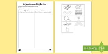 Refraction and Reflection Activity Sheet - worksheet, ACSSU080, light, lightwaves, rays, rainbow, transparent,Australia