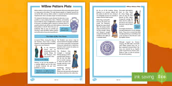 Willow Pattern Plate Story Print-Out - china, chinese, fable, stoke on trent, pottery, story, willow pattern, plate, chinese new year