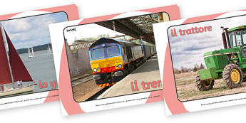 Transport Display Photos (Italian) - Display Posters, Transport, A4, display, posters, car, van, lorry, bike, motorbike, plane, aeroplane, tractor, truck, bus