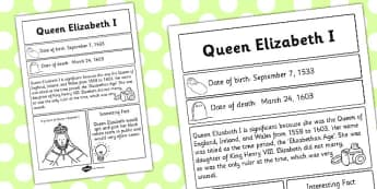 Elizabeth I Significant Individual Fact Sheet - fact sheet, facts