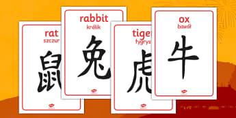 Chinese Zodiac Symbol Display Posters Polish Translation - polish, chinese new year, zodiac, symbol, display posters, display, posters