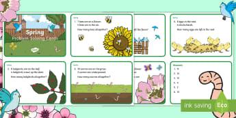 Spring Maths Challenge Cards - NI, Spring, addition, subtraction, bird, worm, egg