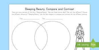 Sleeping Beauty: Compare and Contrast Activity Sheet - Sleeping Beauty, Common Core, Venn Diagram, ELA,Compare, Contrast, worksheet