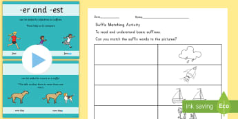 Adding Suffixes Teaching Resource Pack - suffix, powerpoint, learning language, activity sheet, pack