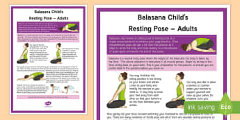 Balasana Child's Resting Pose – Adult Yoga Information Cards