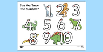 Dinosaur Themed Number Formation 1-10 Activity Sheet - dinosaur, number formation, 1-10, activity, worksheet, overwriting