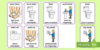 Toilet Procedure Flashcards English/Te Reo Māori - New Zealand Back to School, toilet training, te reo maori