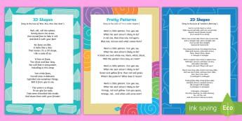 Shape, Measure and Patterns Songs and Rhymes Resource Pack - shape, measure, pattern, EYFS, 2D, circle, semi-circle, triangle, square, rectangle, pentagon, hexag