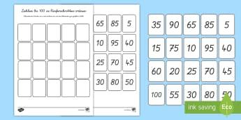 Zahlen bis 100 in Fünferschritten sortieren Arbeitsblatt - Mathe, Stellenwert, Rechnen, Schneiden, Kleben,,German