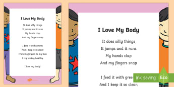 I Love My Body Poem - The Human Body, anatomy, body parts, health, poem