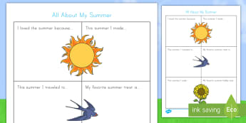 All About My Summer Activity Sheet - vacation, back to school, writing, Worksheet