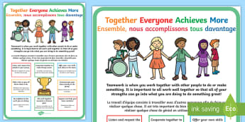 TEAM Large Display Poster English/French  - TEAM Large Motivational Poster KS2 - motivate, inspiration poster, team, together everyone achieves