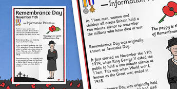 Remembrance Day Large Information Poster KS2 - displays, posters
